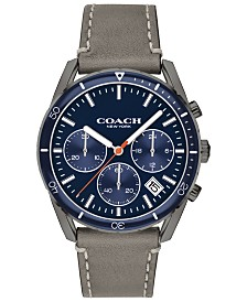 COACH Men's Chronograph Thompson Sport Fog Gray Leather Strap Watch 41mm