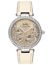 Women's Park Chalk Leather Strap Watch 34mm