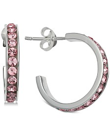 Giani Bernini Colored Cubic Zirconia Hoop Earrings in Sterling Silver, Created for Macy's