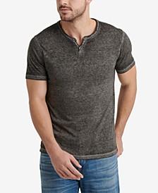 Men's Burnout Button Notch Short Sleeve Tshirt