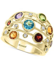 EFFY® Multi-Gemstone (2-5/8 ct. t.w.) & Diamond (1/10 ct. t.w.) Statement Ring in 14k Gold