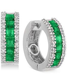 EFFY® Emerald (1-1/3 ct. t.w.) & Diamond (1/6 ct. t.w.) Hoop Earrings in 14k White Gold