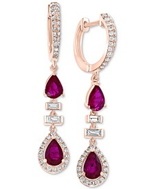 EFFY® Certified Ruby (1-9/10 ct. t.w.) & Diamond (1/2 ct. t.w.) Drop Earrings in 14k Rose Gold