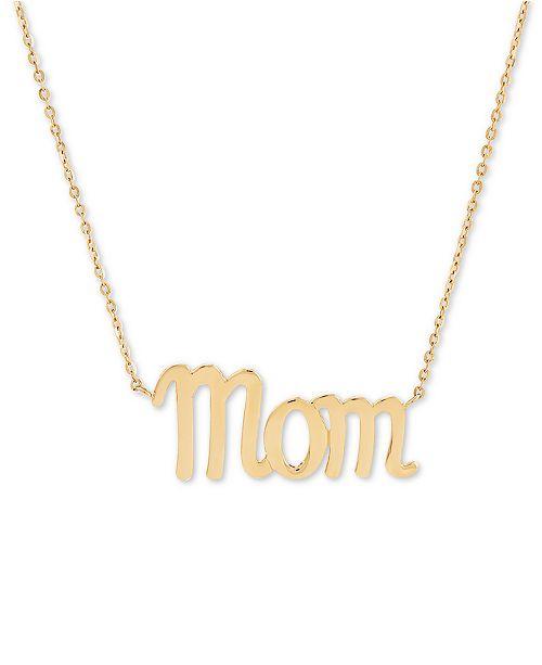 """Macy's Mom Script 17"""" Pendant Necklace in 14k Gold"""