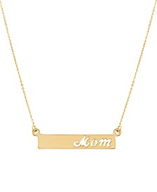 "Mom Bar 17"" Pendant Necklace in 10k Gold"