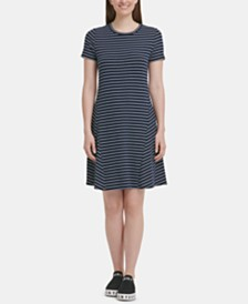 DKNY Striped T-Shirt Dress