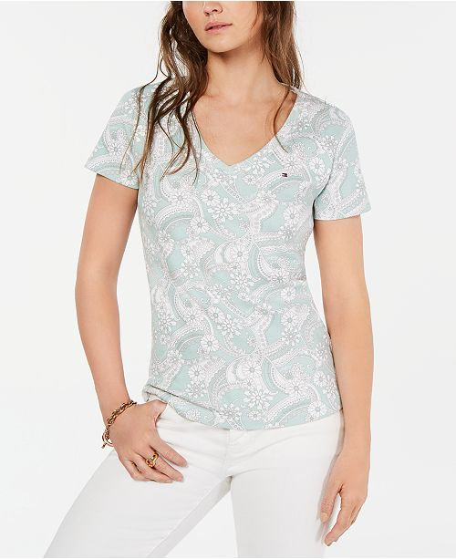 Tommy Hilfiger Cotton Paisley V-Neck T-Shirt, Created for Macy's