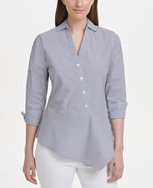 DKNY Striped Asymmetrical-Hem Shirt