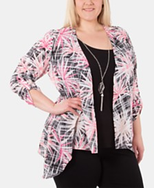 NY Collection Plus Size Layered-Look Necklace Top