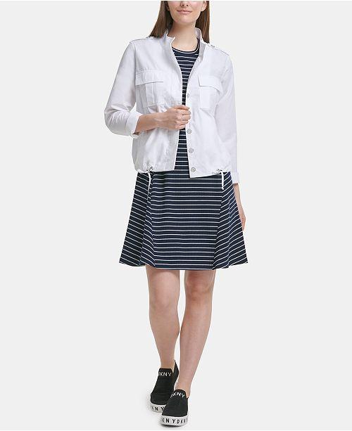 DKNY Cotton Drawstring-Hem Jacket