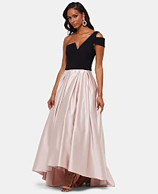 Betsy & Adam One-Shoulder Satin Ballgown