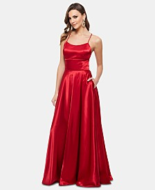 Betsy & Adam Satin Strappy-Back Gown