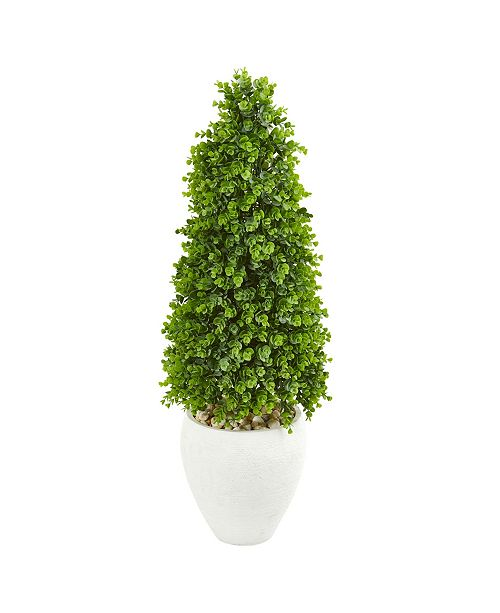 """Nearly Natural 41"""" Eucalyptus Cone Topiary Artificial Tree in White Planter (Indoor/Outdoor)"""