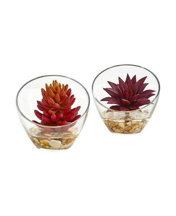 "Nearly Natural 6"" Succulent Artificial Plant in Glass Vase (Set of 2)"