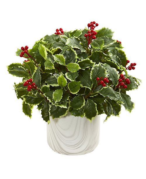 Nearly Natural Variegated Holly Leaf Artificial Plant in Vase (Real Touch)
