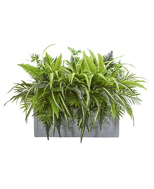 Nearly Natural Mixed Greens and Fern Artificial in Stone Planter