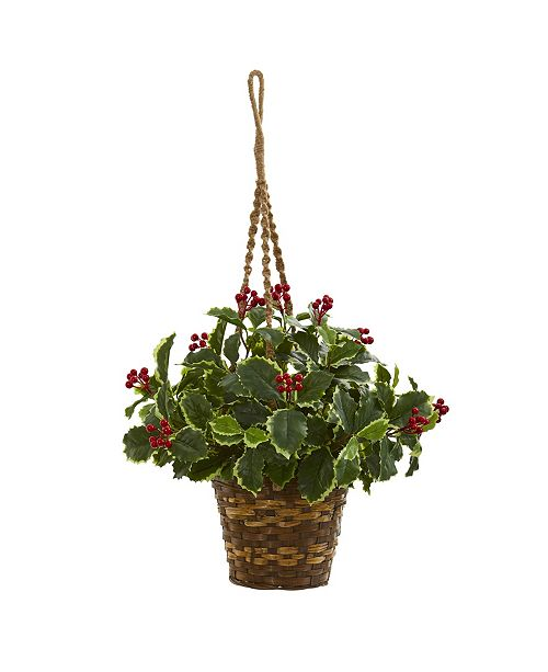 """Nearly Natural 26"""" Variegated Holly Artificial Plant in Hanging Basket (Real Touch)"""