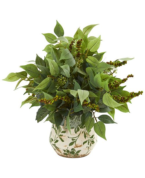 Nearly Natural Mixed Ficus, Fittonia and Berries Artificial Plant in Floral Vase