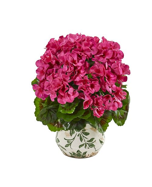 "Nearly Natural 12"" Geranium Artificial Plant in Vase UV Resistant (Indoor/Outdoor)"