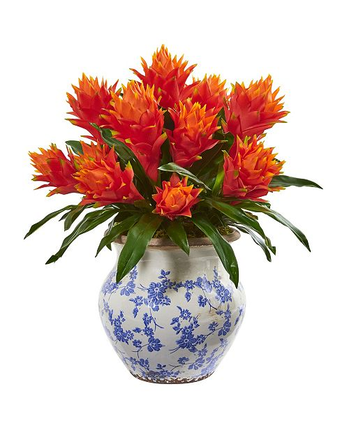 Nearly Natural Bromeliad Artificial Plant in Decorative Vase