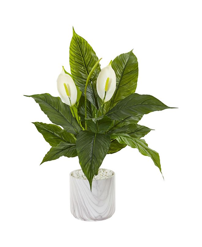 """Nearly Natural 27"""" Spathiphyllum Artificial Plant in Marble Vase"""