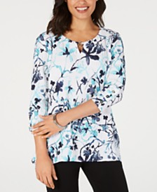JM Collection Crinkle Texture Printed Button-Sleeve Top, Created for Macy's