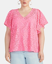 Plus Size Lace Flutter-Sleeve Top
