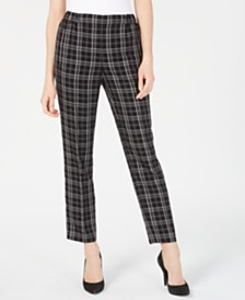 Nine West Plaid Pull-On Pants
