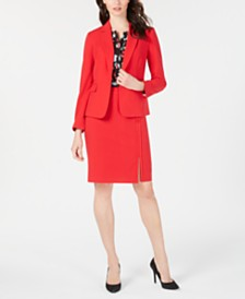 Nine West Single-Button Jacket, Stretch Skirt & Printed Blouse