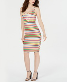 GUESS Rainbow-Stripe Tank Dress