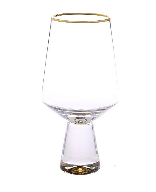 Classic Touch Set of 6 Water Glasses with Base and Rim