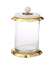 """8"""" Glass Canister with Marble and Lid"""