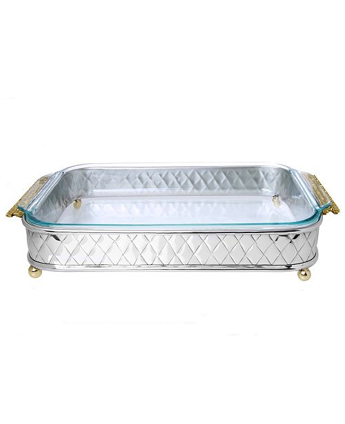 """Classic Touch 15.5"""" Pyrex Holder with Mosaic Handles-Glass included"""