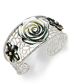 Cultured Tahitian Mother of Pearl Flower Cuff Bracelet in Sterling Silver