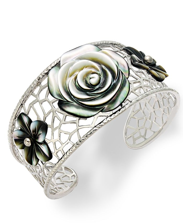 Macy's - Sterling Silver Cuff Bracelet, Cultured Tahitian Mother of Pearl Flower Bangle