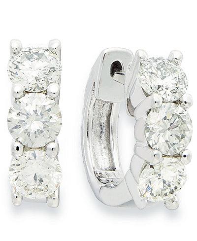 Diamond Hoop Earrings in 14k White Gold (1-1/2 ct. t.w.)