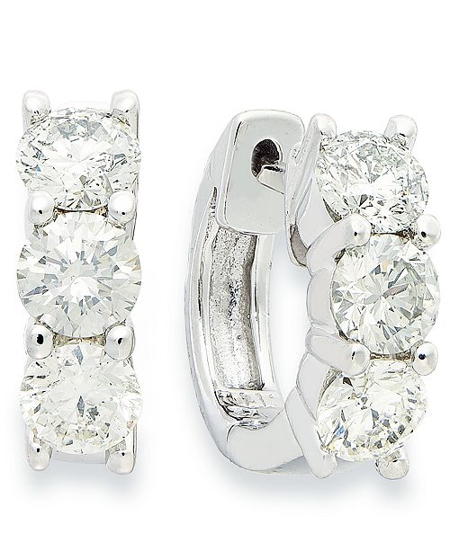 Macy's Diamond Hoop Earrings in 14k White Gold (1-1/2 ct. t.w.)