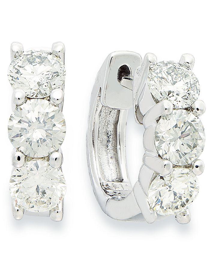Macy's - Diamond Three-Station Round Hoop Earrings in 14k White Gold (1-1/2 ct. t.w.)