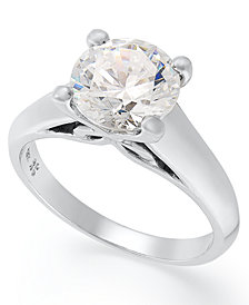 X3 Certified Diamond Solitaire Engagement Ring in 18k White Gold, Created for Macy's