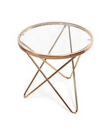 Tetra Clear Glass top Round End Table with Metal Frame