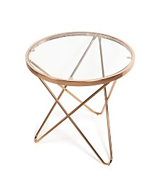 Danya B. Tetra Clear Glass top Round End Table with Metal Frame