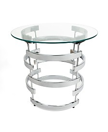 Danya B Signature Chrome End Table with Tempered Clear Glass
