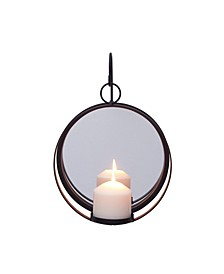 Round Iron Pillar Candle Sconce with Mirror