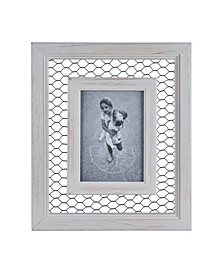 "Chicken Wire Whitewash Wood Picture Frame - 5"" x 7"""