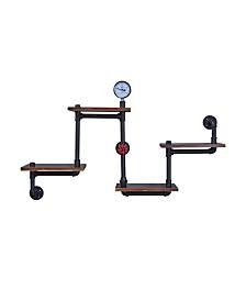 Danya B. 4-Tier Floating Corner Or Straight Industrial Rustic Pipe Shelving Unit