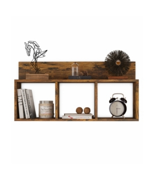 Minimalist and functional, the Danya B. Triple Cubes with Ledge Wall Mount Shelf- White offers homeowners an easy yet functional way to store and display their favorite items. The elegant white finish makes it remarkably easy to integrate in any color motif, while the sleek lines and unobstructed silhouette offers a true contemporary look.