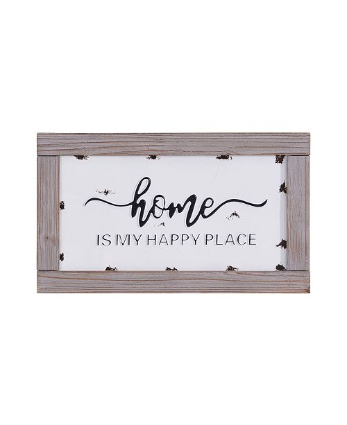 Danya B Home is My Happy Place Metal Hanging Wall Art with Quote