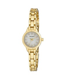 Ladies' Gold Mini Bracelet With Coin Edge Bezel Link Womens Watch