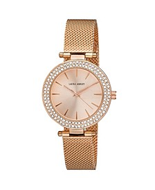 Ladies' T-Bar Case Double Stone Bezel Rose Gold Mesh Band Watch