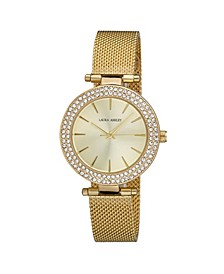 Ladies' T-Bar Case Double Stone Bezel Gold Mesh Band Watch